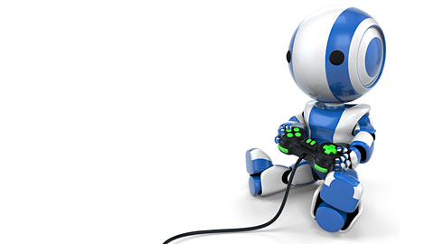 Blue Robot Holding Video Game Controller