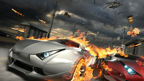 Fiery Cars being Pursued